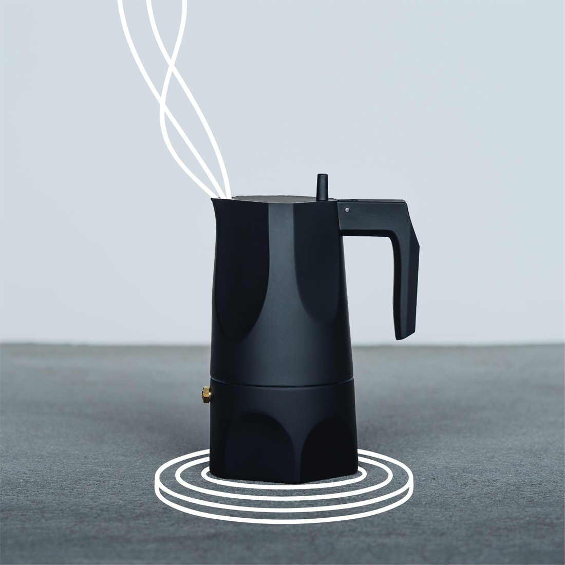 Stovetop brewer with overlaid line illustration of a stovetop coil under the brewer and steam emitting from the top opening