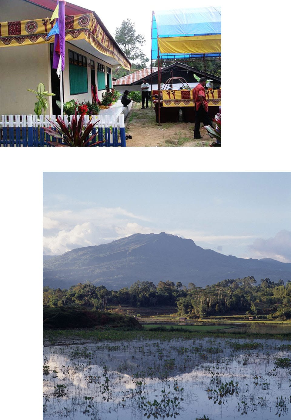 Collage of the exterior of a building with some people in the background and a landscape photo with a mountain, trees, and a shallow body of water