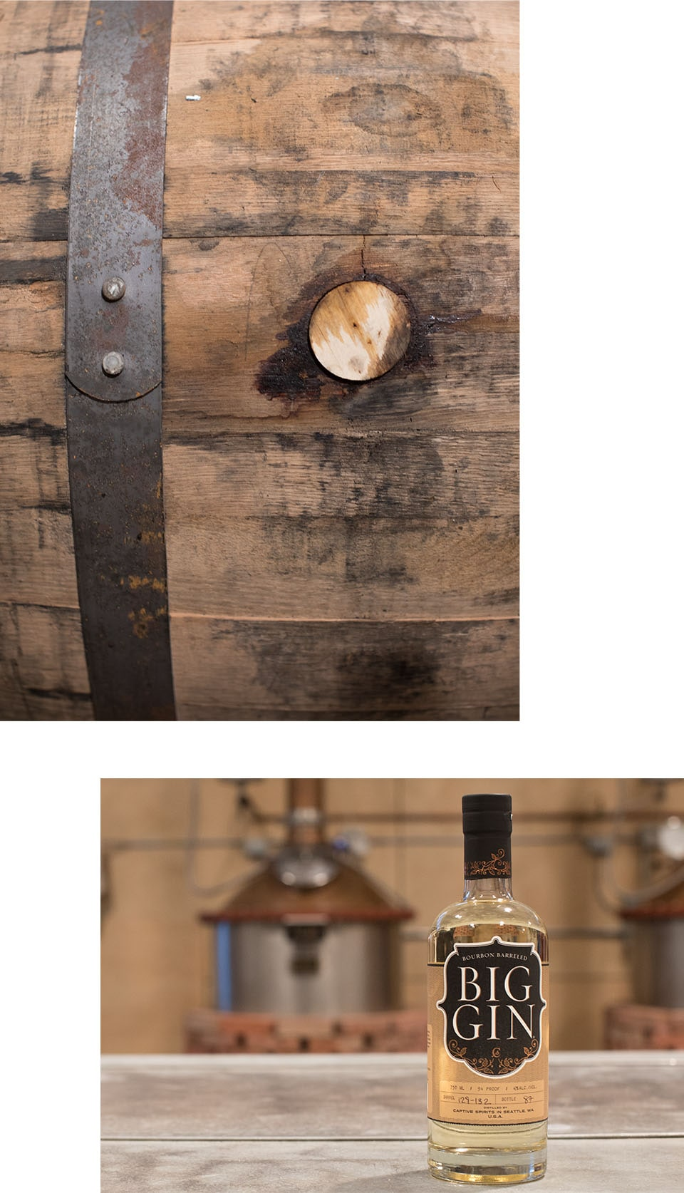 Image collage with closeup of wooden barrel and bottle of gin