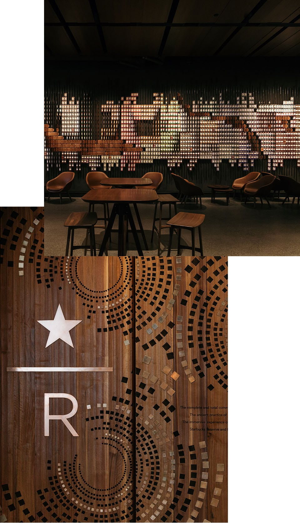 Collage of interior space with wooden furniture and art piece on wall and abstract image of Starbucks Reserve logo and decorative items on wood