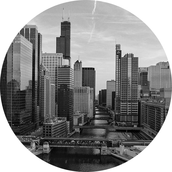 Black and white image of Chicago skyline