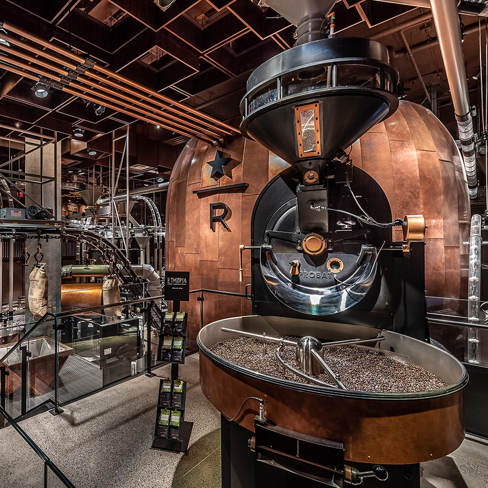 Interior of New York Roastery with coffee roasting machinery