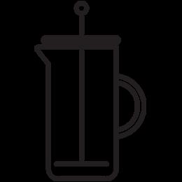Coffee press brew method illustration