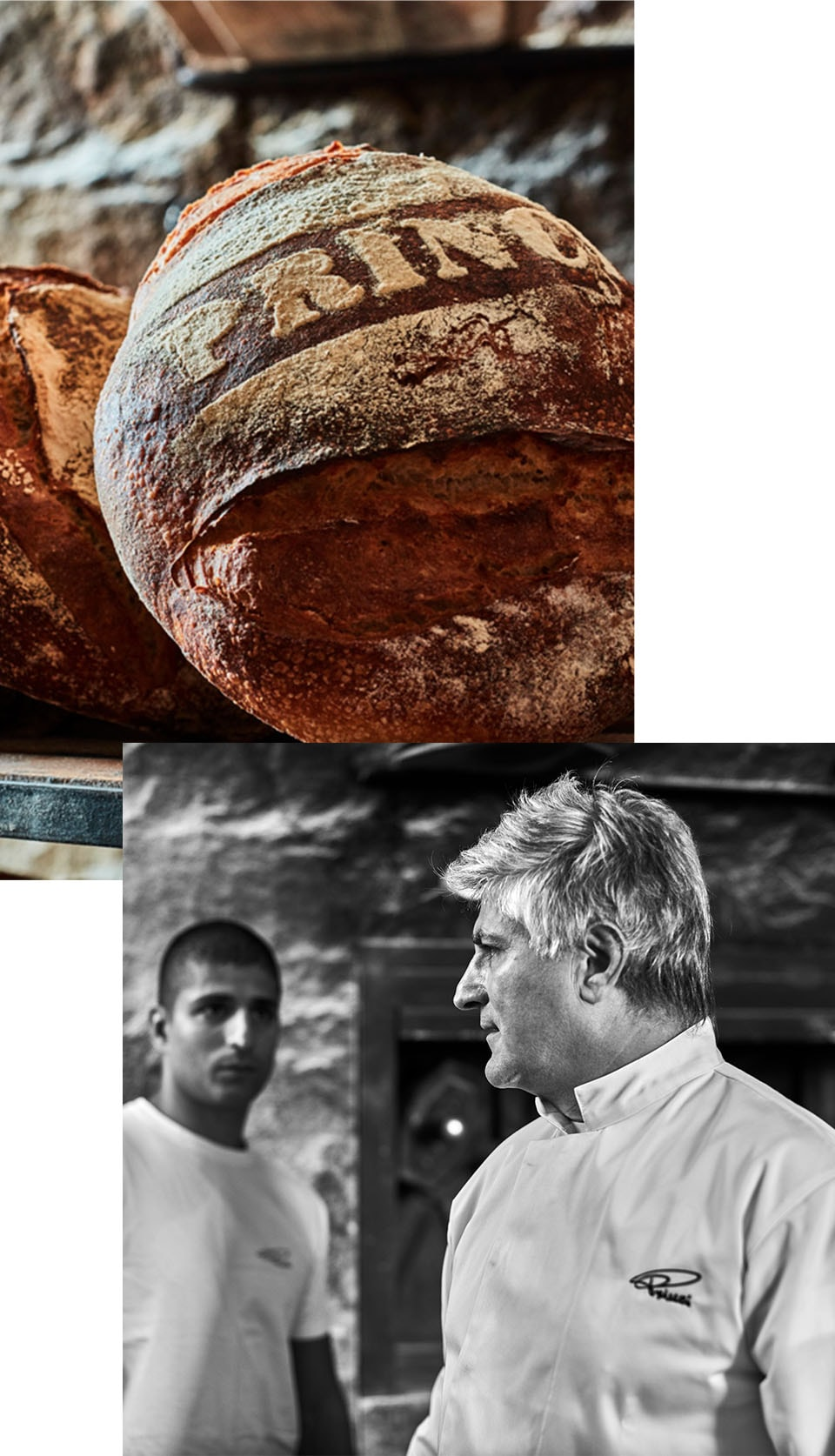 """Collage of a closeup of a loaf of bread that says """"Princi"""" and two men facing each other"""