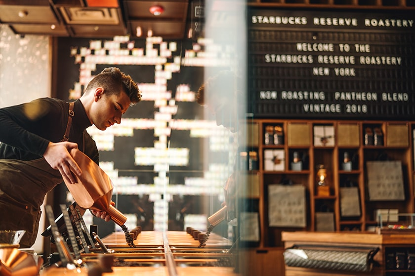 Barista at the Scooping Bar in the New York Roastery