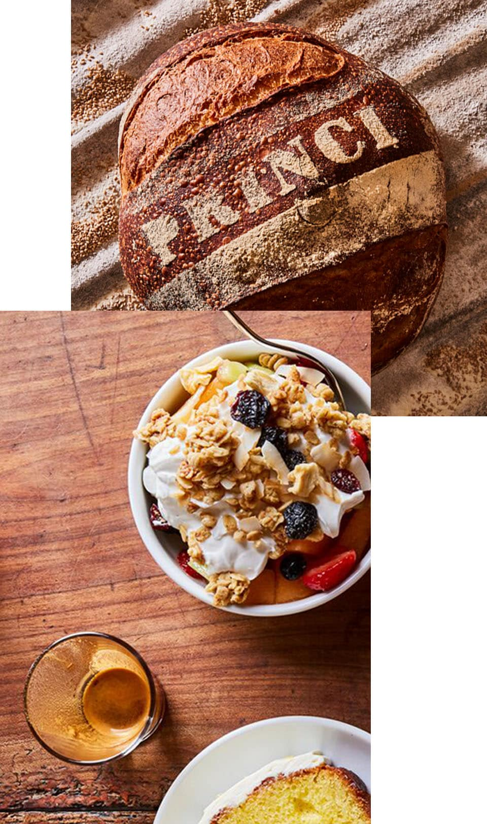 Image collage of a loaf of bread, pastries, and fruit and yogurt