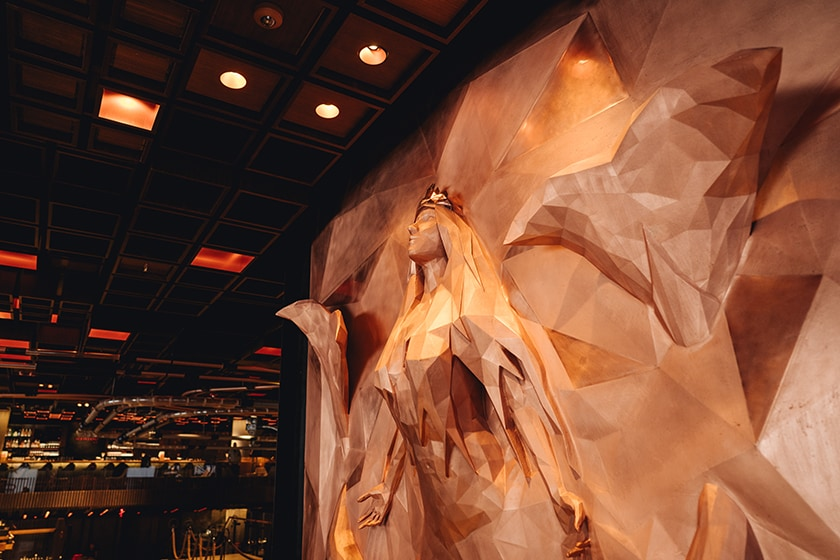 Copper sculpture of the Starbucks Siren