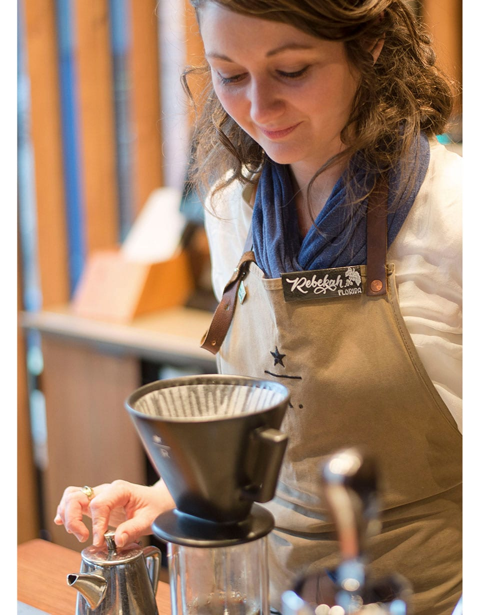 Collage of woman looking at pour over and illustrated line graphic