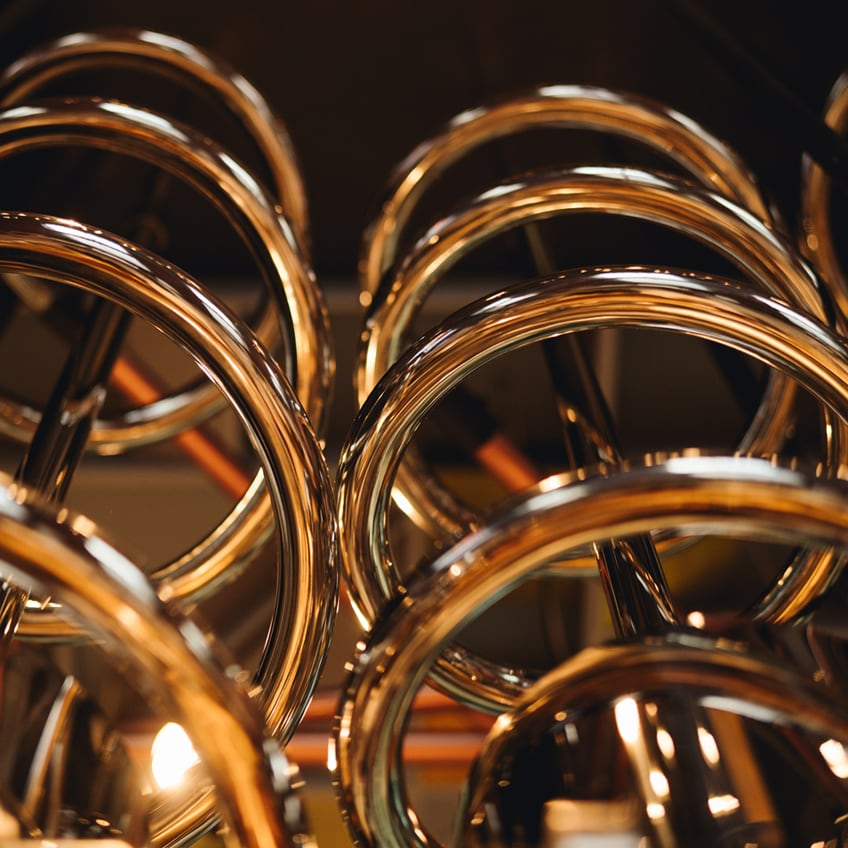 Abstract shot of spiraling copper tubes