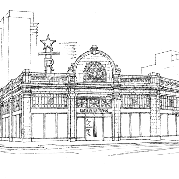 Line illustration of the exterior of the Seattle Roastery