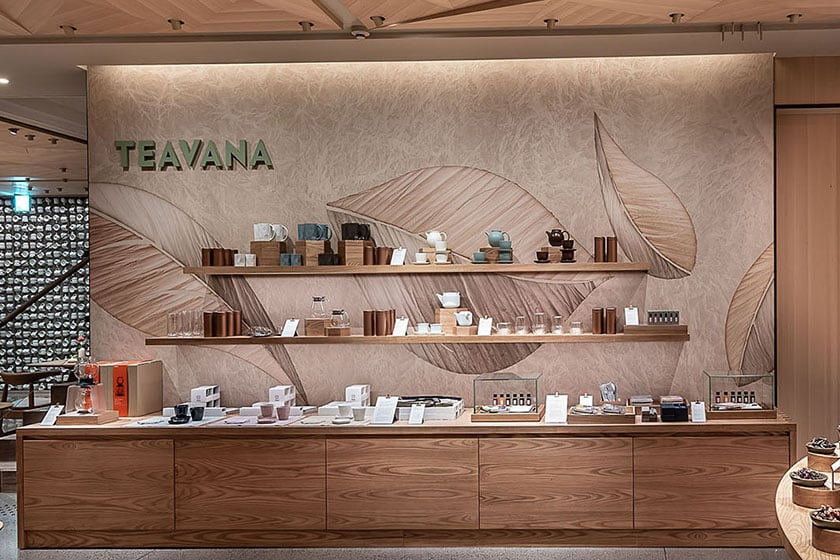 Japanese Paper (Washi) Wall featuring a tea leaf design and Teavana logo
